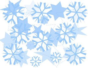 Snowflake Design Background: Christmas or winter graphic background of blue and white snowflakes.