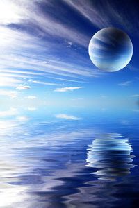 Alien Landscape 2: Abstract watery background with clouds and a planet. Photo and graphic. Great science fiction illustration.