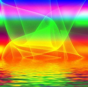 Rainbow Coloured Fantasy: Futuristic background. Bright shapes and colours, swirls, and reflections in water.