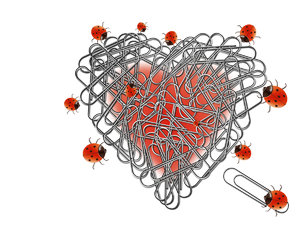 Heart, paperclips and ladybugs