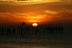 Sunrise 2-2-06: Sun coming up over Galveston Bay in Texas.