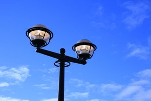 Lampost: Street light in Canary Wharf, london