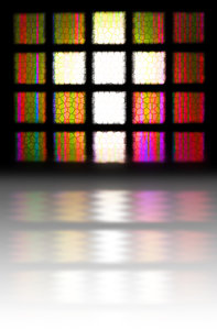 Cross Light: A stained glass window with a reflection. https://www.dreamstime.com/billyruth03_info
