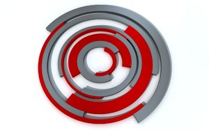 Abstract Circles: Abstract pictures of parts of circles in red and grey on a soft white background.