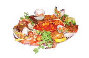 Platter Deluxe: Mexican food with carne asada, shrimp & vegetables