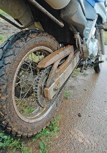 Dirty, happy bike 2: Well-ridden, happy motorcycle on tour in the Karoo region, South Africa.NB: Credit to read
