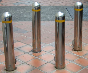 bollard barrier: metal bollards barring access