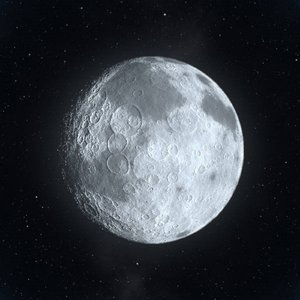 Blue Moon: Rendered image of a moon. Slight blue tint.