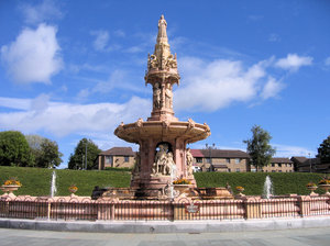 doulton fountain: The Doulton Fountain is the largest terracotta fountain in the world, as well as the best surviving example of its kind. You can find it in Glasgow, Scotland.