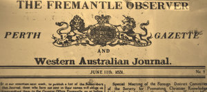 historic newspaper: historic old newspaper banner from Western Australia in 1800s