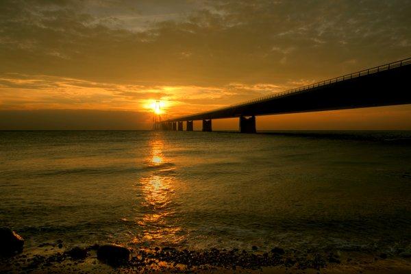 Bridge in sunset - HDR