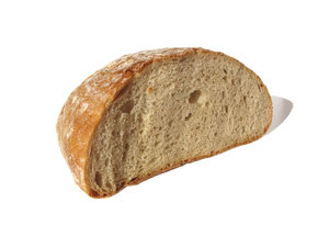 halved bread