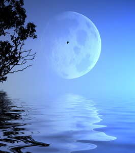 Giant Moon Over Water
