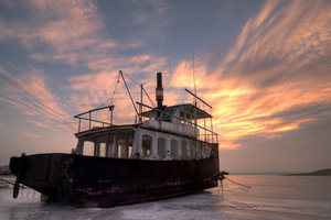 Old ferry in sunset - HDR