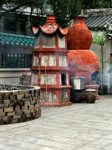 temple joss paper furnaces: old historical style Chinese temple furnaces