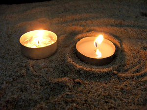 candles in the sand