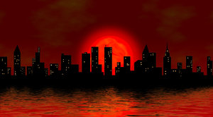 Cityscape: The Cityscape like Manhattan in two versions on the night and in the morning
