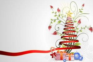 Floral-Ribbon Christmas Tree