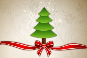 Power of Christmas: Christmas tree with ribbon, bow and floral background