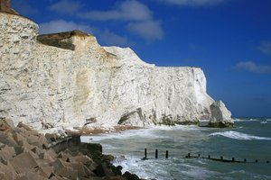 Chalk cliffs: Chalk cliffs on the coast of West Sussex, England.