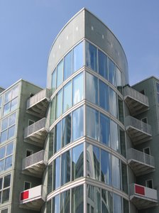 glass cylinder facade