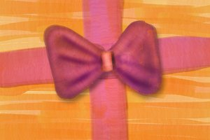 Pink bow illustration: Painted pink bow on orange background