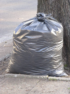 Bag: A litter bag under the tree. Cleaning the Earth project, Earth Day.