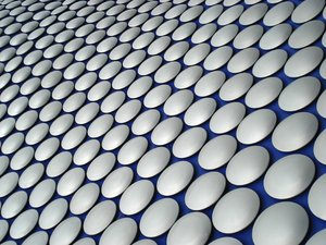 Discs: Part of the exterior of an ultra-modern building in Birmingham, England.