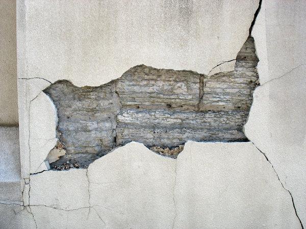 damaged facade