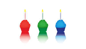 wallpaper cupcakes rgb: red, green and blue cupcakes with burning candles