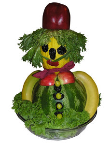 Fruit Man: A man made of fruit.