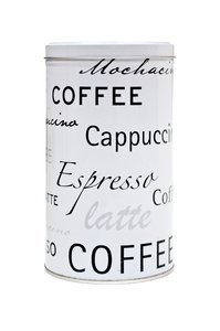 Coffee Box: A little box with 'coffee', 'latte' and 'cappuccino' in text all over.