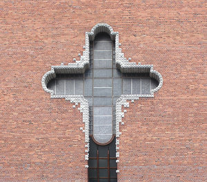 Cross in the church's wall