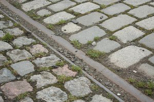 Tram tracks in cobbles
