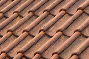 Texture: Roof tiles: Texture photo of red roof tiles