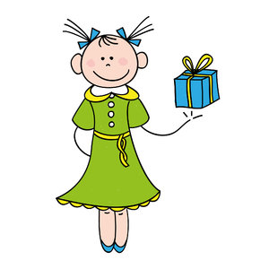 Girl with gift: Drawing of a cute little girl with a wrapped gift