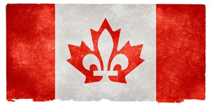 Canada Fusion Grunge: Stylized flag of Canada on grunge textured vintage paper, combining the Canadian maple leaf and Quebec fleur-de-lys. An open concept design which could symbolize their harmonious union for example.