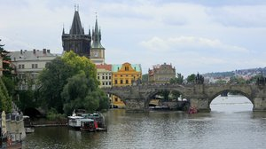 Charles Bridge, Prauge: The Old Town Tower portion of the bridge over the Vtlava River.