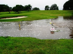 Flooded golf course