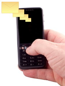 SMS: Sms with mobile telephone in hand, isolated with white background