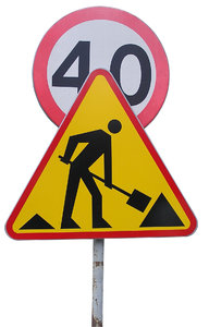Roadsign: Construction works ahead. Slow down!