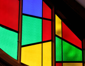 colour corner inside3: interior view of  abstract stained glass windows