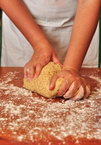 Kneading Pizza dough