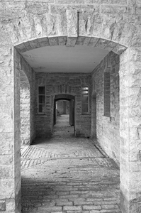 Passageway: B/W shot of a passageway in an old manor house in Somerset, England.