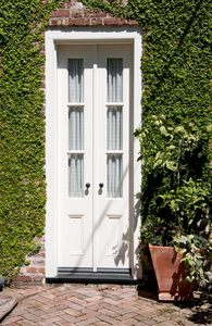 Garden door: Slim french doors leading to garden area, shot in direct sunlight