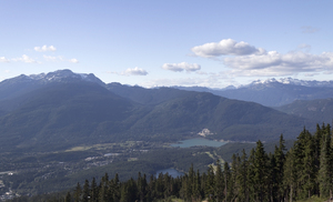 Mountain town: View from the mountainside of Whistler, Canada.