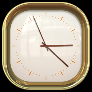 Square Clock: A square clock with a gold trim and a plain face.