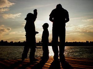 silhouettes on the lake