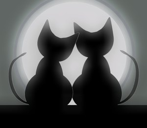 Valentine Cats 3: Two cats in love silhouetted against a big moon. Can illustrate a lot of things, including love, valentine's day, anniversary, honeymoon, etc.