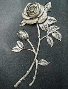 silver rose on marble